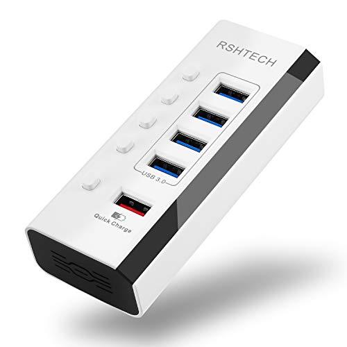RSHTECH USB Hub Aktiv 3.0 mit Netzteil 4 Port USB 3.0 HUB Plus 1 Schnellladeanschlüsse mit Unabhängige EIN/Aus-Schalter und 12V/2A Netzteil (RSH-A35, Weiß) - Netzteil 12v Schalter