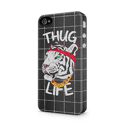 Maceste White Tiger Head Thug Life Kompatibel mit iPhone 4 / iPhone 4S SnapOn Hard Plastic Phone Protective Fall Handyhülle Case Cover (Adorable Iphone 4s Fällen)