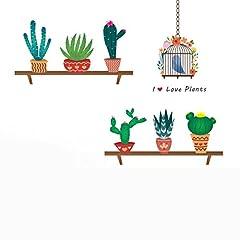 Idea Regalo - Adesivi da parete cartoni WINOMO Adesivo murale con Piante in vasi Gabbia Uccello e Frase I love Plants