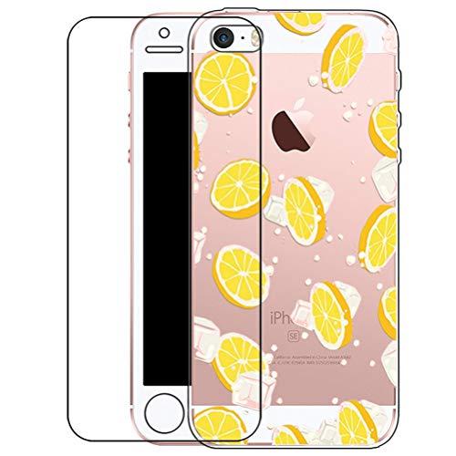 iPhone SE 5s 5 Hülle mit Hartglas Displayschutz, Bestsky Niedlich Muster Transparent Silikon Schutzhülle HandyhülleTelefon Abdeckung Etui Case Cover für Apple iPhone SE/5s/5, Orange Zitrone Eis