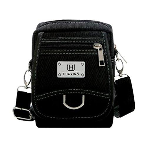 Baymate Unisex Studententasche Collegetasche Schultertasche Freizeit Messenger Bag Schwarz Kleine Größe