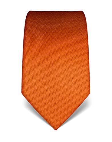 Vincenzo Boretti Herren Krawatte reine Seide strukturiert edel Männer-Design zum Hemd mit Anzug für Business Hochzeit 8 cm schmal/breit orange