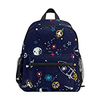 Space Stars Rocket Planets Backpack School Bag Multi Cute BookBags for School Boys and Girls Kid Bags Children Travel Daypack 3-8 Years Old Preschool