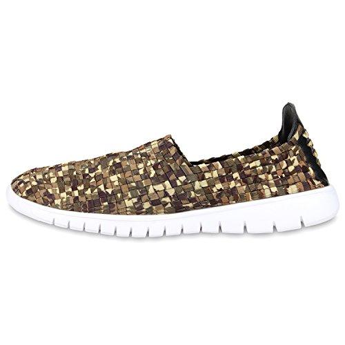Damen Slip-ons Glitzer Sneakers Helle Sohle Slipper Metallic Camouflage