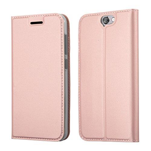 Cadorabo Hülle für HTC ONE A9 - Hülle in ROSÉ Gold – Handyhülle mit Standfunktion und Kartenfach im Metallic Look - Case Cover Schutzhülle Etui Tasche Book Klapp Style