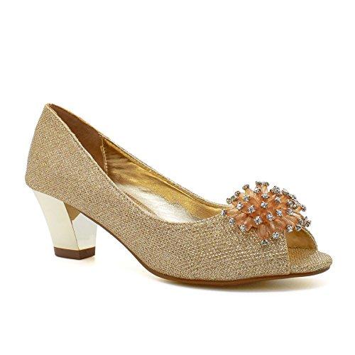 London Footwear ,  Damen Peep Toes , gold - gold - Größe: 41