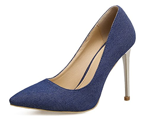 Aisun Damen Klassisch Denim Jeans Spitz Zehen Low Top Stiletto High Heels Pumps Blau