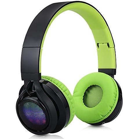 Excelvan BT9916 - Auricular Diadema Plegable Inalámbrico Bluetooth LED Estéreo Recargable Micrófono Incorporado para Smartphone Tablet Pc