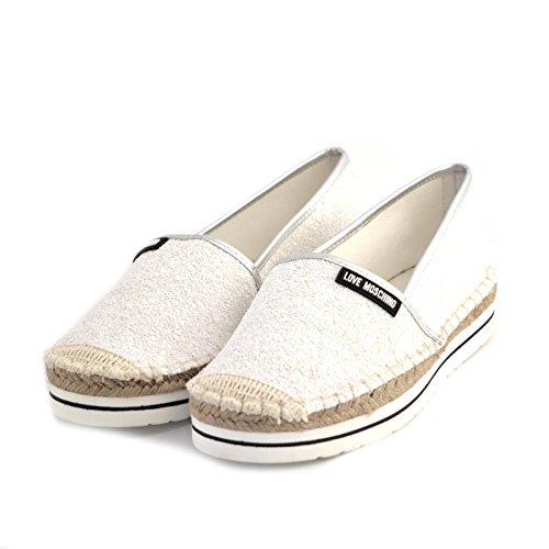 espadrillas donna Love Moschino JA10113 tessuto glitterato bianco gomma e rafia 38