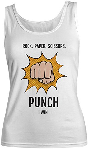 Rock Paper Scissors Punch I Win Amusant Sarcastic Femme Tank Top Debardeur Blanc