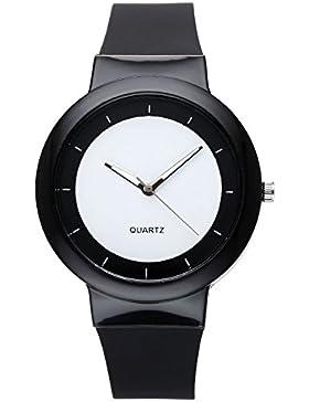 JSDDE Uhren,Fashion Einfach Damen Armbanduhr Silikonband Casual Sportuhr Analog Quarzuhr Silikonuhr,schwarz