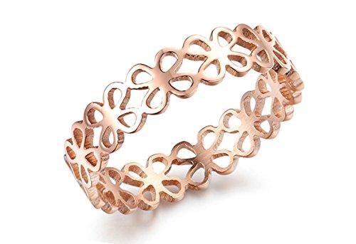 Jasmineees Schmuck Damen Ring,Runde Form Hohl Blume Edelstahl Trauringe Ehering Verlobungsringe für Damen Frau Ring Rose Gold Größe 52(16.6)