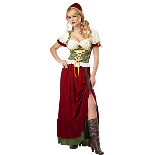 Teilig 3 Rock Langer Kostüm - Chejarity Oktoberfest Trachten Damen Dirndl Lang Trachtenkleid - 3 Teilig: Kleid, Kopftuch, Gürtel Bayerische Taverne Bar Party Cosplay Maid Kostüm Wiesn Traditionelle Bekleidung (L, rot)