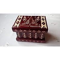 Nuova rosso bella mano speciale intagliato, artigianato scatola di legno fatti a mano di puzzle, scatola segreta, scatola magica, contenitore di monili, rompicapo, scatola di immagazzinaggio, scatola designe fiore