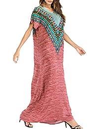 9bceb33a15 Mujer Musulmanas Vestido Largo Kaftan - Abaya Dubai Arabe Ropa Islámica  Algodón Maxi Verano Boho Patrón