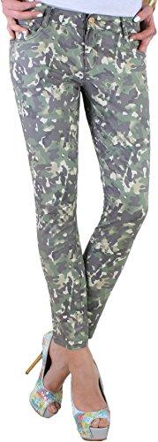 Deutsche Camouflage Hose (BD Damen Röhrenjeans Tarn-Army-Camouflage- Look Hüftjeans Hose Stretch 38M)