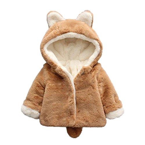 Baby-Säuglings-Mädchen-Jungen-Herbst-Winter-mit Kapuze Mantel-Mantel-Jacke-Starke warme Kleidung Xinantime (0-6 Monat, Khaki)