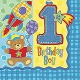 1.Geburtstag Birthday BOY 16 Servietten 3lg.32,7x32,7cm Tischdeko Party