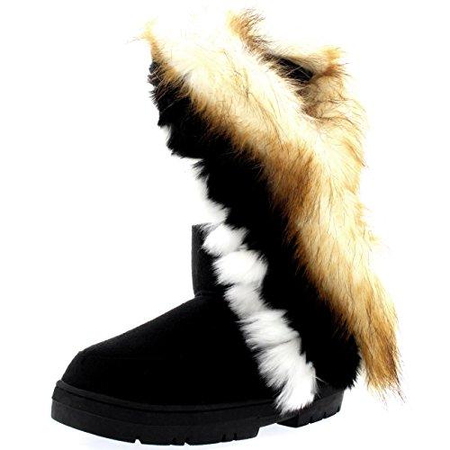 Holly Damen Tall Tassel Rabbit Pelz Gefüttert Winter Kaltes Wetter Schnee Regen Stiefel - Schwarz - BLA39 AEA0397 (Frauen Schnee Stiefel Mit Fell Für)