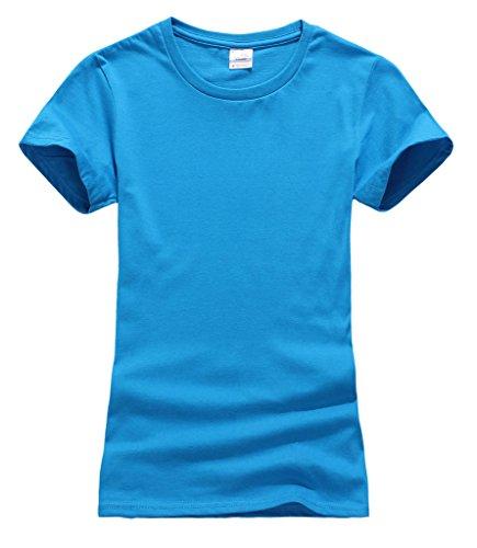 Smile YKK Femme Sweat-shirt T-shirt Tops Couleurs Bonbons Manches Courte Uni Col Rond de Sport Bleu