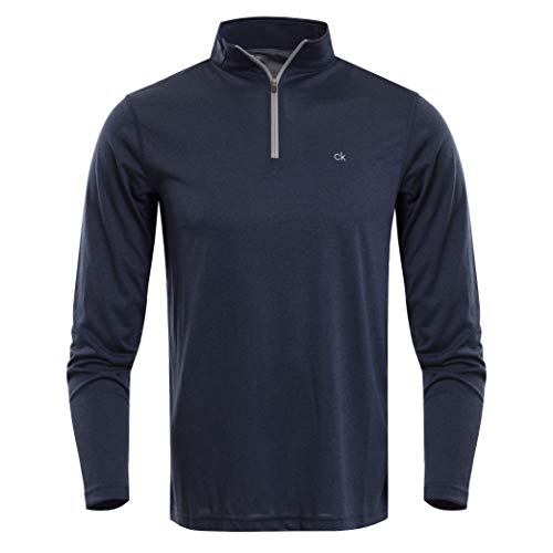 Calvin Klein Herren Harlem TECH 1/4 Zip Golf-T-Shirt, Navy Marl, Klein - Athletic Pullover Golf