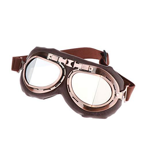 perfk Motorradbrille Vintage Helmbrillen Sonnenbrillen mit Schaumstoffpolsterung, Braun, Anti-Fog, UV-Schutz, Kratzfest, Winddicht
