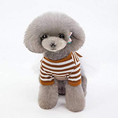 ASDF J Haustier Hund Kleider und Kleider aus Die Neue frühjahr und Sommer 2019 Tier - kostüm - Kleid Temperament Streifen aus.