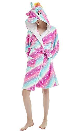 Einhorn Kostüm Gemütliche - Monba Damen Bademantel mit Kapuze, Einhorn, Einteiler, Kostüm, Schlafanzug, gemütlich Gr. Large, Unicorn-Starry Sky