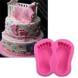 Forma 3D del piede del bambino della torta del silicone muffa di cottura for bigné biscotto al cioccolato mestiere dello zucchero della torta del fondente che decora gli attrezzi stampo per dolci