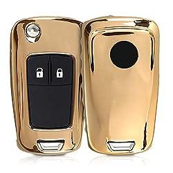 kwmobile Autoschlüssel Hülle für Opel Vauxhall - TPU Schutzhülle Schlüsselhülle Cover für Opel Vauxhall 2-3-Tasten Klappschlüssel Autoschlüssel Hochglanz Gold