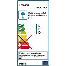 SEBSON® LED Lampe sous meuble lot de 2, Lampes Armoires avec interrupteur et fiche, blanc chaud 3000K, 2x 3,5W, 2x 230lm, luminaire penderie