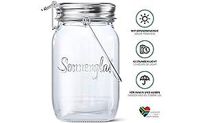 SONNENGLAS Original, Linterna solar en tarro de vidrio con puerto micro-USB, Comercio justo de Sudáfrica, Vidrio y acero inoxidable, Lámpara Solar Sun Jar
