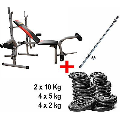 Kit Panca Bench Pro + Bilanciere + Pesi
