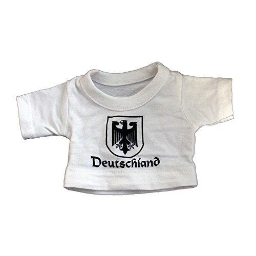 Teddybär Stoffbär Fan-Bär mit Shirt - Deutschland Adler - Größe ca 26cm - 27026 Farbe weiß -