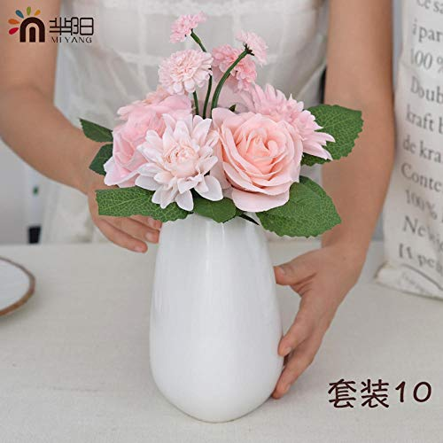MEIYIGE-SP Dahlia Rose Simulation Bouquet Dekoration-Set 10 (Flasche +1 Bund Prinzessin Champagner)