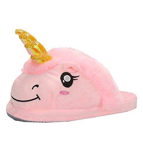 Damen Einhorn Hausschuhe Plüsch Pantoffeln Kostüm Unicorn - Einheitsgröße für Erwachsene Geschenk für Weihnachten Karneval Fasching (Größe 28-34, Pink)