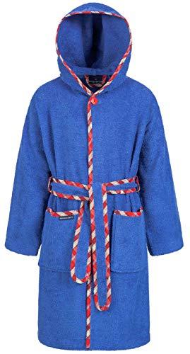 Morgenstern Baumwoll Kinderbademantel mit Kapuze einfarbig, Gr. 134/140,Blau Marine