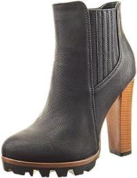 Sopily - Zapatillas de Moda Botines chelsea boots zapatillas de plataforma Tobillo mujer acabado costura pespunte Talón Tacón ancho alto 12 CM - Negro
