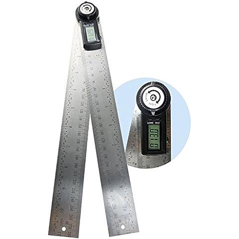 360 gradi 600mm 60cm (23 5/8 in) digitale angolo righello angolo calibro Finder Meter goniometro misura metrico e imperiale scala per automobile, strumenti, costruzioni, attività nautiche, falegnameria e