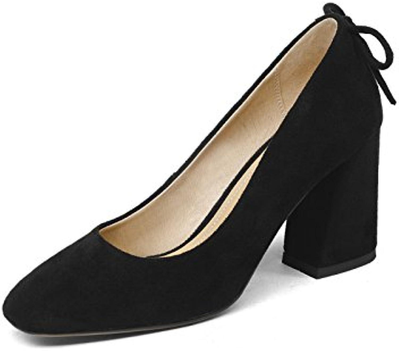 Los zapatos cómodos en la primavera con grandes zapatos de tacón zapatos de mujer de la luz sola, Negro,36