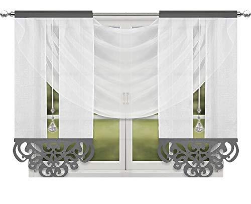 Inox Trade Fertiggardine Gardine Panel Vorhänge Moderne Fenstergardine Voile Paneel Set 200x150cm