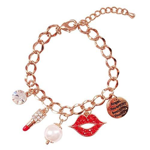 WFYJY-die einzelnen roten Lippenstift-anhänger-Armband einfachen Riemen zirkon Pearl das Armband-Armband Geschenk -