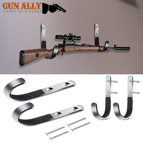 GunAlly Gun Rack Shotgun Hook Rifle Hanger Archery Bow Airgun Hangers Felt Lined Wall Mount Storage J-Hooks,Silver