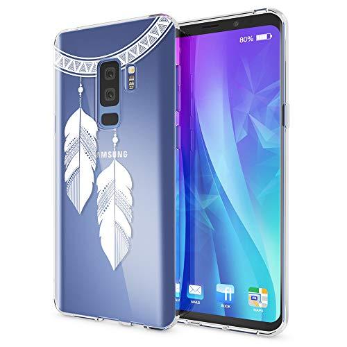 NALIA Handyhülle kompatibel mit Samsung Galaxy S9 Plus, Slim Silikon Motiv Case Crystal Schutzhülle Dünn Durchsichtig, Etui Handy-Tasche Back-Cover Transparent Bumper, Designs:Chain Feathers -