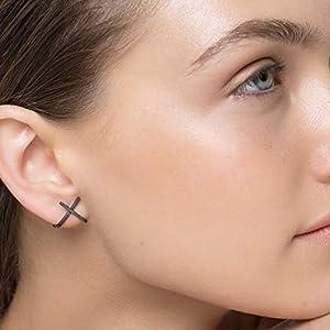 Minimalistische Ohrringe x Ohrstecker Sterling Silber Ohrstecker schwarze Ohrringe geometrische Ohrringe x hypoallergene Huggie-Ohrstecker