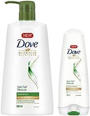 Dove Hair Fall Rescue Shampoo, 650ml + Dove Hair Fall Rescue Conditioner, 180ml
