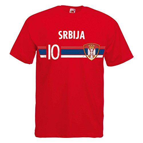 Serbien Wm (Fußball WM T-Shirt Fan Artikel Nummer 10 - Weltmeisterschaft 2018 - Länder Trikot Jersey Herren Damen Kinder Serbien Srbija XL)
