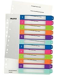 Leitz 12440000 WOW Plastikregister Zahlen, 1-12, A4, PP, 12 Blatt, farbig