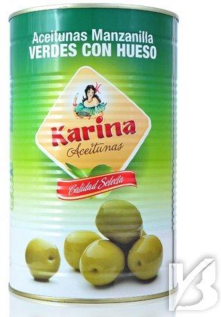Karina grüne Manzanilla-Oliven mit Stein, Dose, 1er Pack (1 x 2.5 kg)
