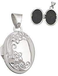 Colgante medallón, zarcillo de flor, ovalado, de plata 925